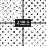 Set of seamless background  black white circle, delta, plus. Set of seamless pattern of grunge polka dots, triangle, star, cross, hand drawn background of black Stock Photography