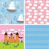 Set 3 seamless background. Castle, fairytale landscape. vector Stock Photos