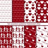 Set seamless patterns Valentine`s Day vector illustration