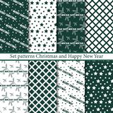 Set seamless patterns Merry Christmas and Happy New Year stock illustration