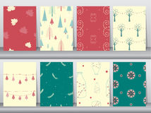Set of seamless background pattern of christmas winter. Seamless winter,seamless backgrounds Royalty Free Stock Image