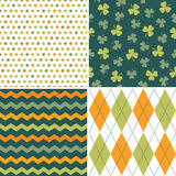 Set of seamless background patterns in green and o Stock Image