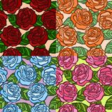 Set of seamless background.  roses with green leaves in the old style. Royalty Free Stock Images