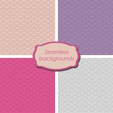 Set of seamless backgrounds. Four tender color abstract backgrounds Royalty Free Stock Photos