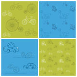 Set of Seamless backgrounds with Bikes and Cars Royalty Free Stock Photos