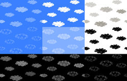 Set of seamless backgrounds with clouds Stock Images