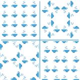Set of seamless backgrounds with cup of tea Royalty Free Stock Images