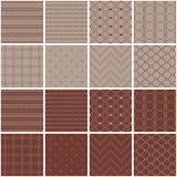 Set of 16 seamless  backgrounds with decorative geometric shapes Stock Photo