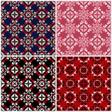 Set of seamless backgrounds with floral patterns. For wallpapers, textile and fabrics Royalty Free Stock Photos