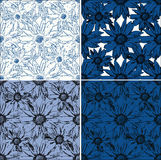 Set of 4 seamless backgrounds with flowers. Background of the outlines of flowers of different colors stock illustration