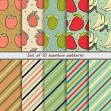 Set of seamless backgrounds fruit Stock Photos