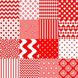 Set of seamless backgrounds with geometric print in red and whit Royalty Free Stock Image