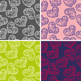 Set of seamless backgrounds with hearts pattern Royalty Free Stock Images