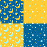 Set of seamless backgrounds with moon and stars. Vector Stock Photography