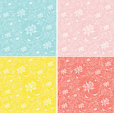 Set of 4 seamless backgrounds with primroses. Background of the outlines of primroses of different colors royalty free illustration