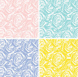 Set of 4 seamless backgrounds with roses. Background of the outlines of roses of different colors vector illustration