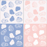Set of 4 seamless backgrounds with shell. Background of the outlines of shell of different colors vector illustration