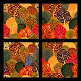 Set of seamless backgrounds with stylized autumn trees. Vector illustration Stock Illustration