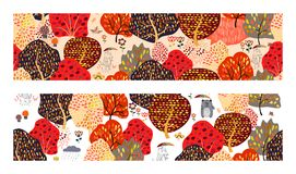 Set of seamless backgrounds with stylized trees. Forest bright pattern. vector illustration