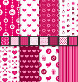Set seamless backgrounds Valentine Day pattern. Set seamless of love and romantic backgrounds Valentine Day patterns with purple, pink, red and white colors royalty free illustration