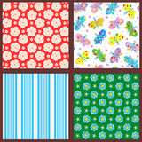 Spring and summer seamless patterns or backgrounds. Set of 4 seamless backgrounds or wallpapers with floral, butterflies and striped patterns Stock Photos