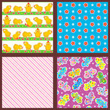 Spring and summer seamless patterns or backgrounds Stock Image