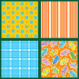 Seamless patterns or backgrounds set - floral, plaid, striped, butterflies. Set of 4 seamless backgrounds or wallpapers with floral, plaid, striped and vector illustration