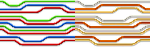 Set of seamless backgrounds with wires, pipes Stock Images
