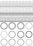 Set of seamless black brushes. Twelve round frames. Ethnic borders for your design. African motifs. Monochrome. on white background. Tribal patterns. Vector stock illustration