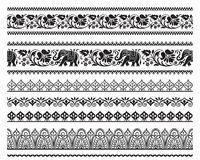 Set of seamless black ornate borders with pattern brushes. Ethic Southeast Asia style Royalty Free Stock Photo