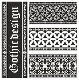 Set of seamless black-and-white gothic ornaments Stock Photography