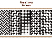 Set of seamless black and white houndstooth vector patterns Stock Image
