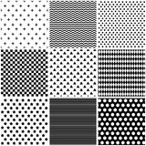 Set seamless black and white patterns. Backgrounds for business cards Stock Image