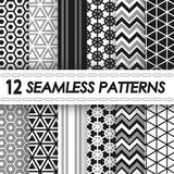 Set of seamless black and white patterns. Set of seamless patterns of black and white colors Royalty Free Stock Photography