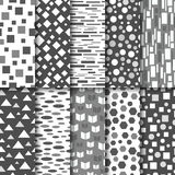 Set of seamless black and white patterns. Geometric style design. Vector illustration Royalty Free Stock Photos
