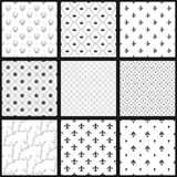 Set of  seamless black and white patterns. Monochrome wallpapers collection.. Set of  seamless black and white patterns. Monochrome wallpapers collection Royalty Free Stock Image