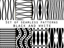Set seamless black and white patterns. The pattern for wallpaper. Set seamless black and white patterns. Abstract backgrounds. Vector Stock Photography
