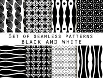 Set seamless black and white patterns. The pattern for wallpaper. Set seamless black and white patterns. Geometric seamless pattern. Abstract vector backgrounds Stock Photography
