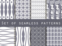 Set seamless black and white patterns. The pattern for wallpaper. Set seamless black and white patterns. Vector illustration Stock Image