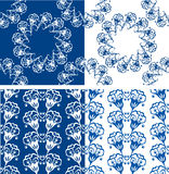 Set of Seamless blue color floral patterns. Royalty Free Stock Image