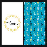 Set with seamless blue texture with colorful flowers and a card with hand drawn word love in a floral frame Royalty Free Stock Photos