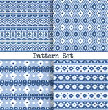A set of seamless blue and white oriental vintage Moroccan patterns for fabric, wrapping, design and backgrounds. Stock Photos