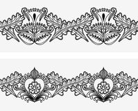 Set of seamless border with Indian pattern style tattoo mehndi. Horizontal ornament isolated on white background. Royalty Free Stock Images