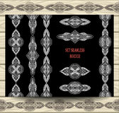 Set seamless border lace ribbons decoration elements white on black. With beige wood background for decoration invitation congratulation flyers banners package Royalty Free Stock Image