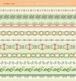Set of seamless border patterns. Brushes included Royalty Free Stock Photography