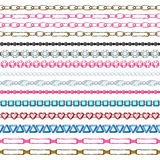 Set of seamless borders - chains and gemstones. Set of hand drawn seamless borders - chains and gemstones. Cartoon style Stock Image