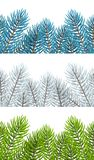 Set of seamless borders with Christmas tree branches. On white Royalty Free Stock Photo