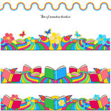 Set of seamless borders with flowers, books Royalty Free Stock Images