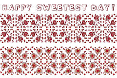 Set of seamless borders for Happy Sweetest Day. Set of seamless borders with cookies and lollipops for Happy Sweetest Day Stock Photos