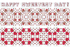 Set of seamless borders for Happy Sweetest Day. Set of seamless borders with heart shaped chocolate boxes and cupcakes for Happy Sweetest Day Royalty Free Stock Image